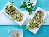 Fennel salad with parsley and egg vinaigrette and sesame seeds