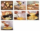 Omelett mit Kartoffeln, Bacon und Apfel zubereiten