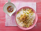 Millet and pear muesli with cinnamon and walnuts