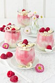 White chocolate & raspberry mousse in glasses