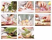 Eichblattsalat mit Kresse, Speck und Edelschimmelkäse zubereiten