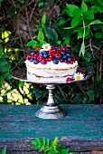 Sponge cake with cream cheese frosting and berries on a cake stand in a garden