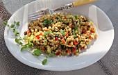 Weizenkornsalat mit Curry und Gemüse