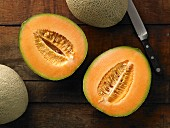 Half a Cantaloupe with a Whole Cantaloupe