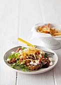 Lentil salad with sweet potato chips