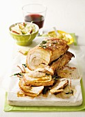 Rolled pork belly with apple & cabbage salad
