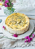 Peach and passionfruit cheesecake