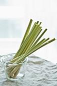 Fresh lemongrass in a preserving jar