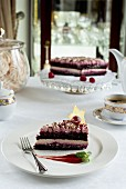 Festive chocolate and raspberry cake