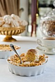 Apple pie with meringue and cinnamon and caramel ice cream