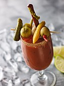 A Bloody Mary cocktail with a lavish vegetable kebab