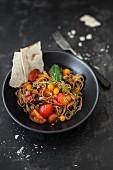 Porcini mushroom pasta with tomatoea