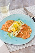 Salmon carpaccio with fenchel and orange