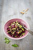 Lentil salad with beetroot
