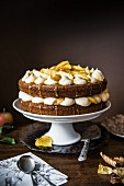 Apple & toffee cake on a cake stand