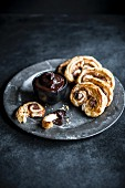 Puff pastry & cinnamon palmiers with chocolate sauce for dipping