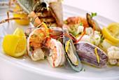 A mixed seafood platter (close-up)