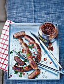 Boerewors (South African sausages) with tomato chutney