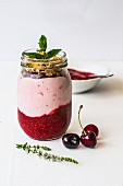Yoghurt with chia, berry purée and mint