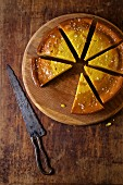Olive oil cake flavoured with orange and cut into slices