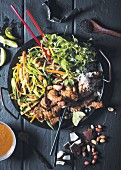 Pork stir-fry with vegetables and desiccated coconut