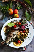 Grilled trout and vegetables