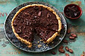 Chocolate tart, a piece cut