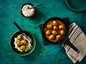 Satay pork balls with rice