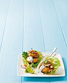 Chickpea patties with smoked mackerel