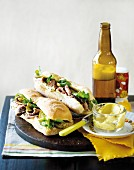 Ciabatta sandwiches with beef, gherkins and watercress