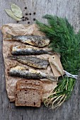 Fried herrings, bread, dill and spices