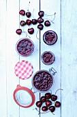 Cherry jam and fresh cherries