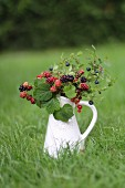 A wild berry bouquet in an enamel jug on a lawn