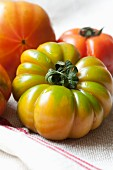 Organic tomatoes with water droplets