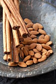Almonds and cinnamon sticks