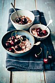 Cherry pudding with grated chocolate