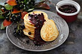 Pancakes with aronia berries
