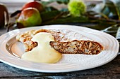 Pear & nut studel with zabaione