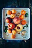 Fruits with stones (apricots, peaches and nectarines) with brown sugar and mint leaves on a tray