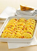 Baked semolina slices with bacon and Sbrinz cheese