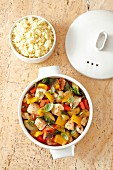 Braised chicken breast with vegetable ratatouille (pepper, aubergine, courgette and tomatoes) and couscous