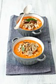 Tomato soup with barley and mushrooms
