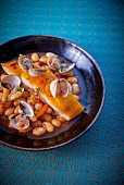 Haddock with clams and haricot beans
