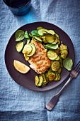 Pan-fried cod with courgette (seen from above)