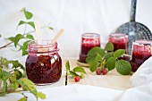 Jars of raspberry jam
