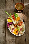Cardoon and other vegetables with almond bagna càuda dip