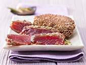 Marinated tuna with a sesame seed crust
