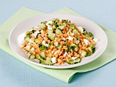 Pearl barley with tomato pesto and cucumber