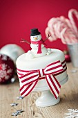 Christmas cake decorated with fondant snowman