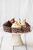 Chocolate cupcakes on a cakestand